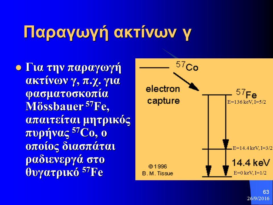 26/9/2016 63 Παραγωγή ακτίνων γ Για την παραγωγή ακτίνων γ, π.χ.