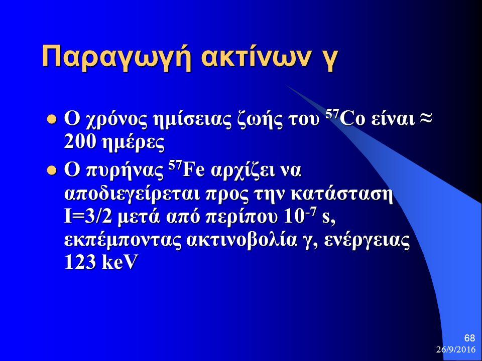 26/9/2016 68 Παραγωγή ακτίνων γ Ο χρόνος ημίσειας ζωής του 57 Co είναι ≈ 200 ημέρες Ο χρόνος ημίσειας ζωής του 57 Co είναι ≈ 200 ημέρες Ο πυρήνας 57 Fe αρχίζει να αποδιεγείρεται προς την κατάσταση Ι=3/2 μετά από περίπου 10 -7 s, εκπέμποντας ακτινοβολία γ, ενέργειας 123 keV Ο πυρήνας 57 Fe αρχίζει να αποδιεγείρεται προς την κατάσταση Ι=3/2 μετά από περίπου 10 -7 s, εκπέμποντας ακτινοβολία γ, ενέργειας 123 keV