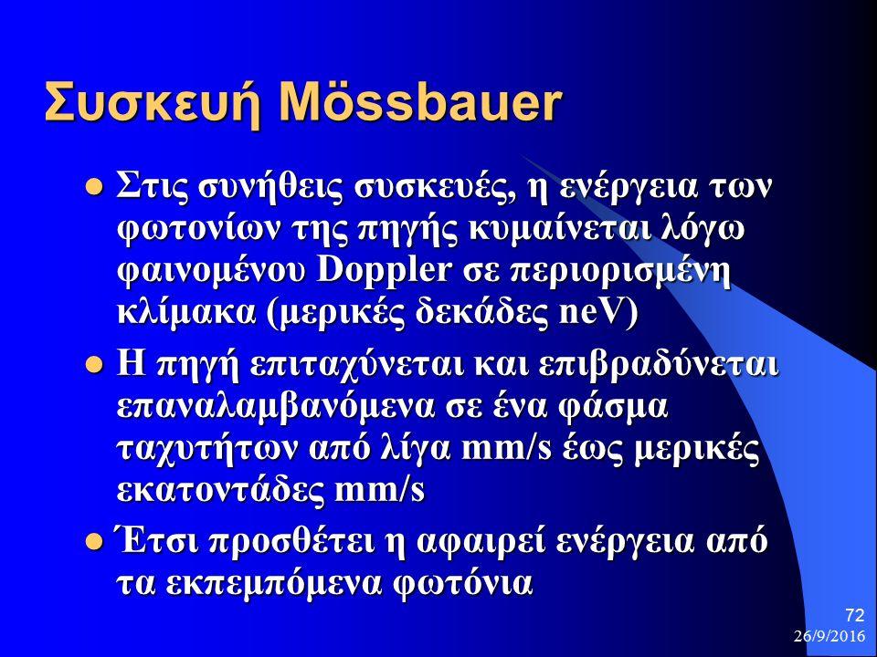 26/9/2016 72 Συσκευή Μössbauer Στις συνήθεις συσκευές, η ενέργεια των φωτονίων της πηγής κυμαίνεται λόγω φαινομένου Doppler σε περιορισμένη κλίμακα (μερικές δεκάδες neV) Στις συνήθεις συσκευές, η ενέργεια των φωτονίων της πηγής κυμαίνεται λόγω φαινομένου Doppler σε περιορισμένη κλίμακα (μερικές δεκάδες neV) Η πηγή επιταχύνεται και επιβραδύνεται επαναλαμβανόμενα σε ένα φάσμα ταχυτήτων από λίγα mm/s έως μερικές εκατοντάδες mm/s Η πηγή επιταχύνεται και επιβραδύνεται επαναλαμβανόμενα σε ένα φάσμα ταχυτήτων από λίγα mm/s έως μερικές εκατοντάδες mm/s Έτσι προσθέτει η αφαιρεί ενέργεια από τα εκπεμπόμενα φωτόνια Έτσι προσθέτει η αφαιρεί ενέργεια από τα εκπεμπόμενα φωτόνια