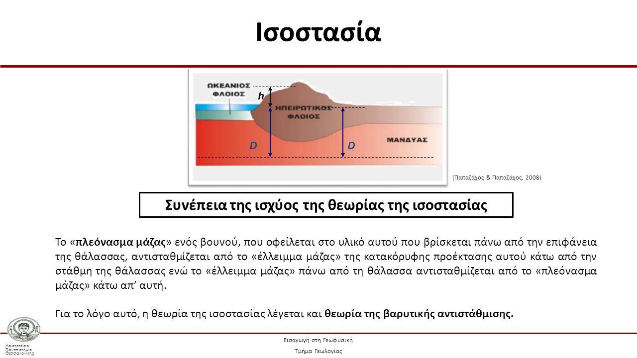 Αριστοτέλειο Πανεπιστήμιο Θεσσαλονίκης Εισαγωγή στη Γεωφυσική Τμήμα Γεωλογίας Συνέπεια της ισχύος της θεωρίας της ισοστασίας Το «πλεόνασμα μάζας» ενός βουνού, που οφείλεται στο υλικό αυτού που βρίσκεται πάνω από την επιφάνεια της θάλασσας, αντισταθμίζεται από το «έλλειμμα μάζας» της κατακόρυφης προέκτασης αυτού κάτω από την στάθμη της θάλασσας ενώ το «έλλειμμα μάζας» πάνω από τη θάλασσα αντισταθμίζεται από το «πλεόνασμα μάζας» κάτω απ' αυτή.