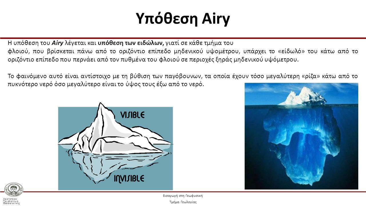 Αριστοτέλειο Πανεπιστήμιο Θεσσαλονίκης Εισαγωγή στη Γεωφυσική Τμήμα Γεωλογίας Η υπόθεση του Airy λέγεται και υπόθεση των ειδώλων, γιατί σε κάθε τμήμα του φλοιού, που βρίσκεται πάνω από το οριζόντιο επίπεδο μηδενικού υψομέτρου, υπάρχει το «είδωλό» του κάτω από το οριζόντιο επίπεδο που περνάει από τον πυθμένα του φλοιού σε περιοχές ξηράς μηδενικού υψόμετρου.
