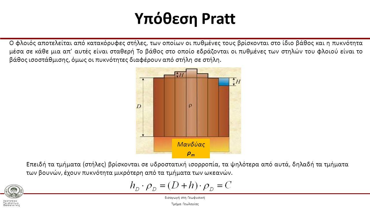 Αριστοτέλειο Πανεπιστήμιο Θεσσαλονίκης Εισαγωγή στη Γεωφυσική Τμήμα Γεωλογίας Ο φλοιός αποτελείται από κατακόρυφες στήλες, των οποίων οι πυθμένες τους βρίσκονται στο ίδιο βάθος και η πυκνότητα μέσα σε κάθε μια απ' αυτές είναι σταθερή Το βάθος στο οποίο εδράζονται οι πυθμένες των στηλών του φλοιού είναι το βάθος ισοστάθμισης, όμως οι πυκνότητες διαφέρουν από στήλη σε στήλη.