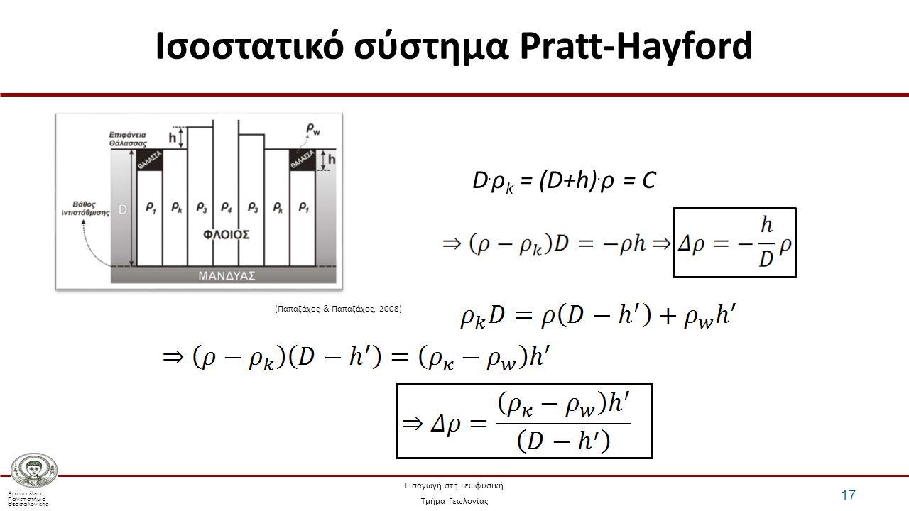 Αριστοτέλειο Πανεπιστήμιο Θεσσαλονίκης Εισαγωγή στη Γεωφυσική Τμήμα Γεωλογίας Ισοστατικό σύστημα Pratt-Hayford 17 D.