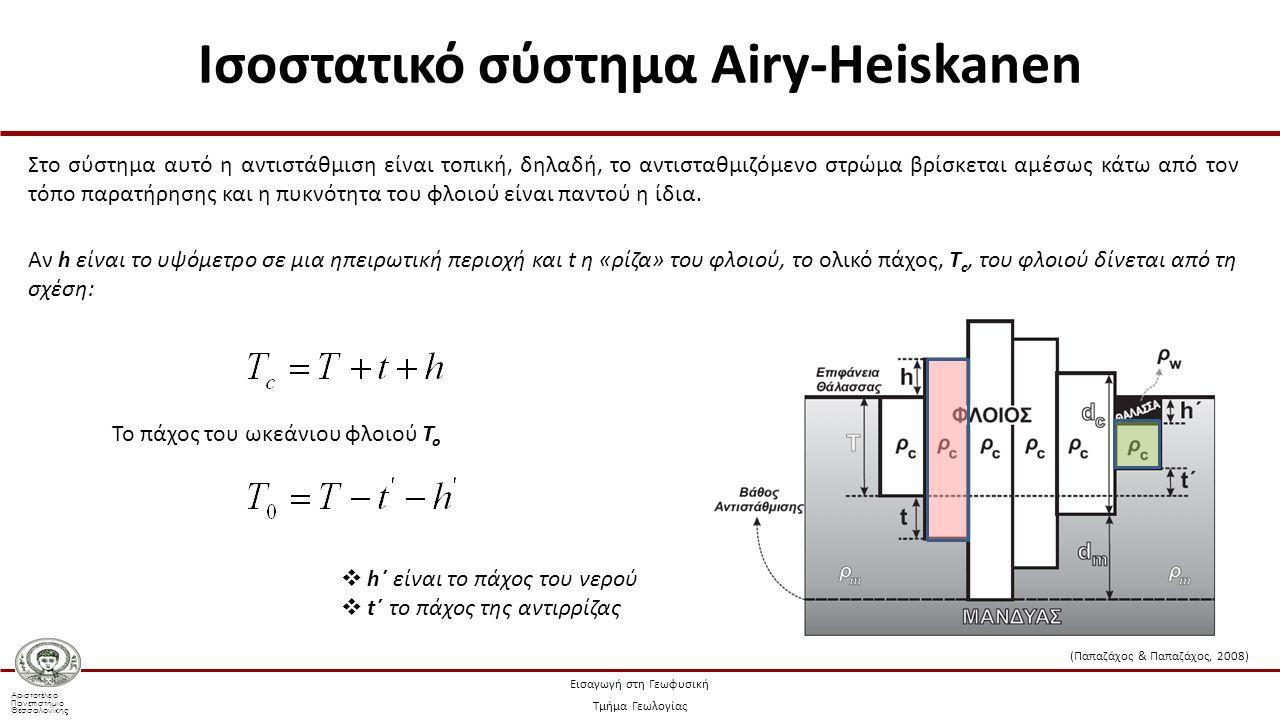Αριστοτέλειο Πανεπιστήμιο Θεσσαλονίκης Εισαγωγή στη Γεωφυσική Τμήμα Γεωλογίας Στο σύστημα αυτό η αντιστάθμιση είναι τοπική, δηλαδή, το αντισταθμιζόμενο στρώμα βρίσκεται αμέσως κάτω από τον τόπο παρατήρησης και η πυκνότητα του φλοιού είναι παντού η ίδια.