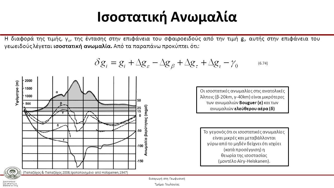 Αριστοτέλειο Πανεπιστήμιο Θεσσαλονίκης Εισαγωγή στη Γεωφυσική Τμήμα Γεωλογίας Η διαφορά της τιμής, γ ο, της έντασης στην επιφάνεια του σφαιροειδούς από την τιμή g i, αυτής στην επιφάνεια του γεωειδούς λέγεται ισοστατική ανωμαλία.