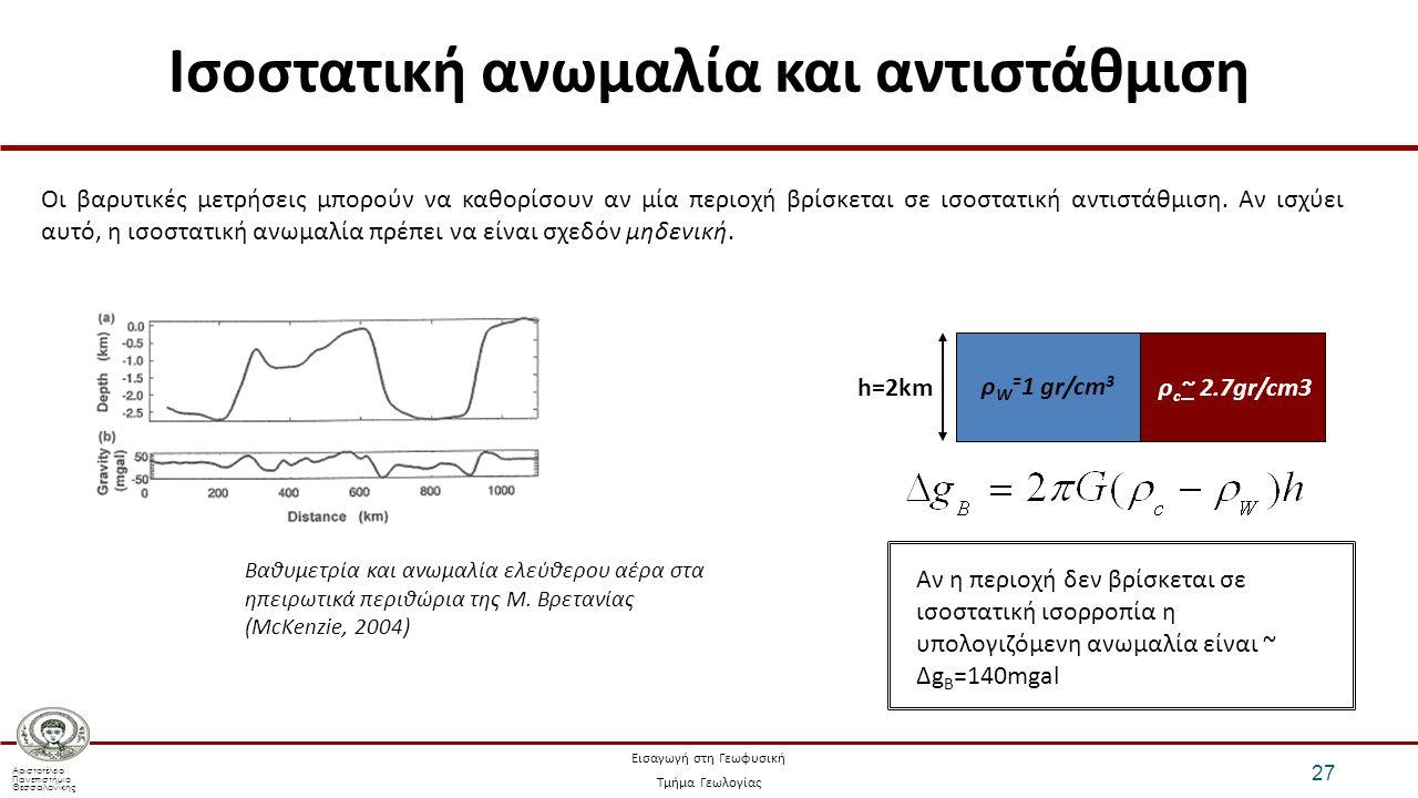 Αριστοτέλειο Πανεπιστήμιο Θεσσαλονίκης Εισαγωγή στη Γεωφυσική Τμήμα Γεωλογίας Ισοστατική ανωμαλία και αντιστάθμιση 27 Οι βαρυτικές μετρήσεις μπορούν να καθορίσουν αν μία περιοχή βρίσκεται σε ισοστατική αντιστάθμιση.