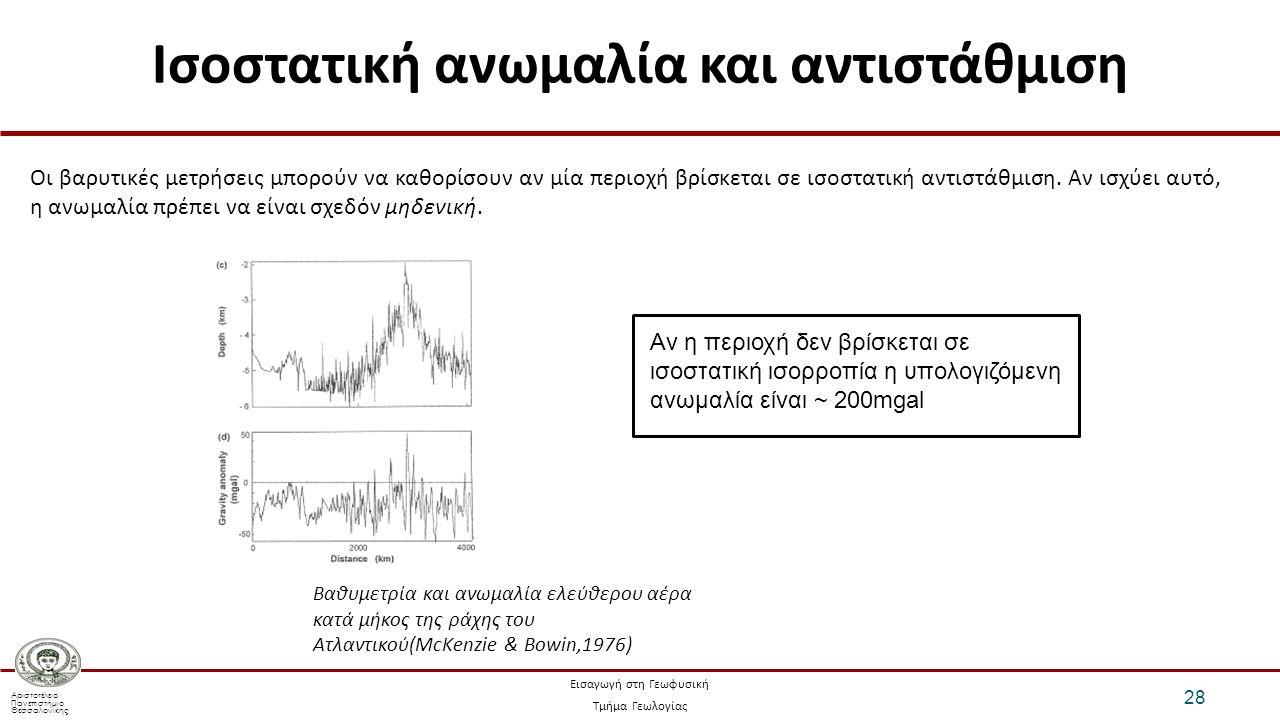 Αριστοτέλειο Πανεπιστήμιο Θεσσαλονίκης Εισαγωγή στη Γεωφυσική Τμήμα Γεωλογίας Ισοστατική ανωμαλία και αντιστάθμιση 28 Οι βαρυτικές μετρήσεις μπορούν να καθορίσουν αν μία περιοχή βρίσκεται σε ισοστατική αντιστάθμιση.