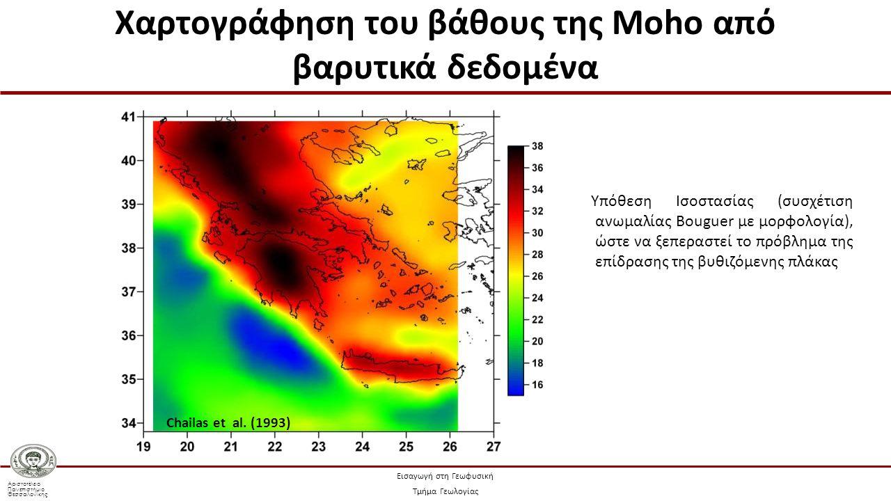 Αριστοτέλειο Πανεπιστήμιο Θεσσαλονίκης Εισαγωγή στη Γεωφυσική Τμήμα Γεωλογίας Υπόθεση Ισοστασίας (συσχέτιση ανωμαλίας Bouguer με μορφολογία), ώστε να ξεπεραστεί το πρόβλημα της επίδρασης της βυθιζόμενης πλάκας Chailas et al.