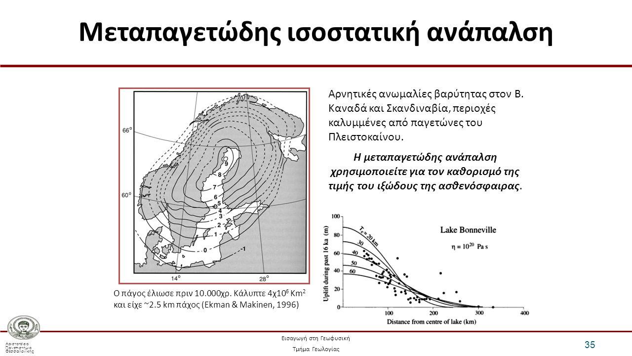 Αριστοτέλειο Πανεπιστήμιο Θεσσαλονίκης Εισαγωγή στη Γεωφυσική Τμήμα Γεωλογίας Μεταπαγετώδης ισοστατική ανάπαλση 35 Η μεταπαγετώδης ανάπαλση χρησιμοποιείτε για τον καθορισμό της τιμής του ιξώδους της ασθενόσφαιρας.