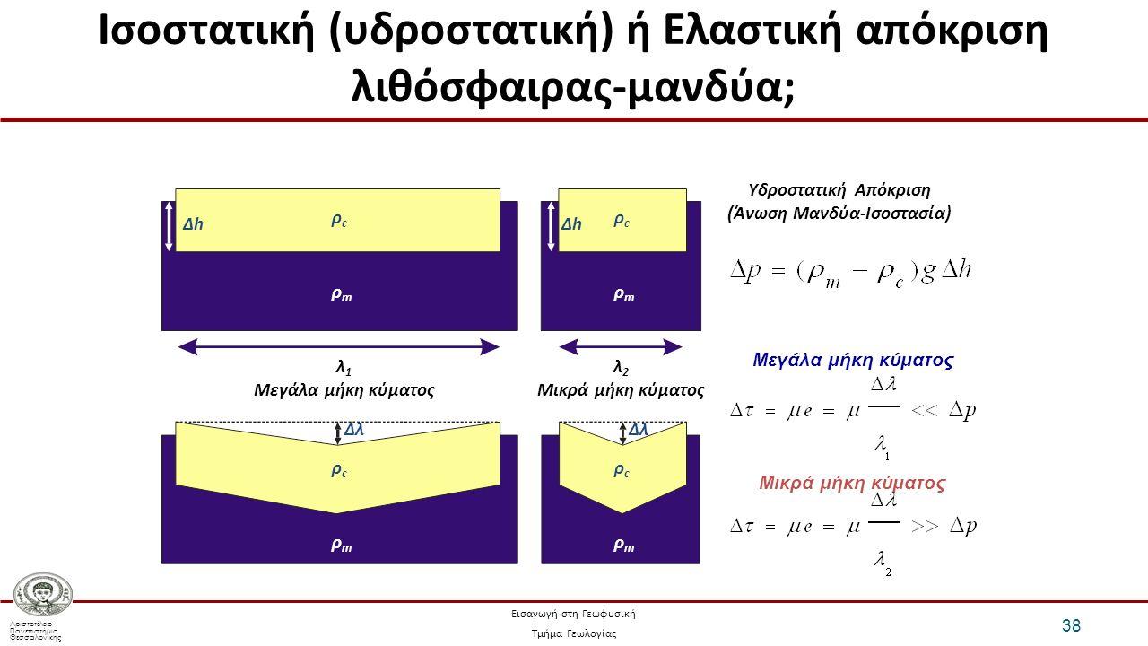Αριστοτέλειο Πανεπιστήμιο Θεσσαλονίκης Εισαγωγή στη Γεωφυσική Τμήμα Γεωλογίας Ισοστατική (υδροστατική) ή Ελαστική απόκριση λιθόσφαιρας-μανδύα; 38 ρcρc ρcρc ρmρm ρmρm ρcρc ρcρc ρmρm ρmρm λ 1 Μεγάλα μήκη κύματος λ 2 Μικρά μήκη κύματος Δλ Μεγάλα μήκη κύματος Υδροστατική Απόκριση (Άνωση Μανδύα-Ισοστασία) ΔhΔhΔhΔh Μικρά μήκη κύματος