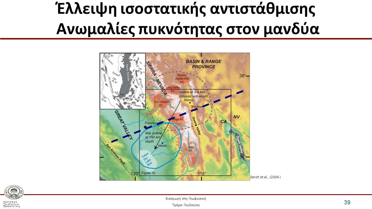 Αριστοτέλειο Πανεπιστήμιο Θεσσαλονίκης Εισαγωγή στη Γεωφυσική Τμήμα Γεωλογίας Έλλειψη ισοστατικής αντιστάθμισης Ανωμαλίες πυκνότητας στον μανδύα 39 Zandt et al., (2004 )