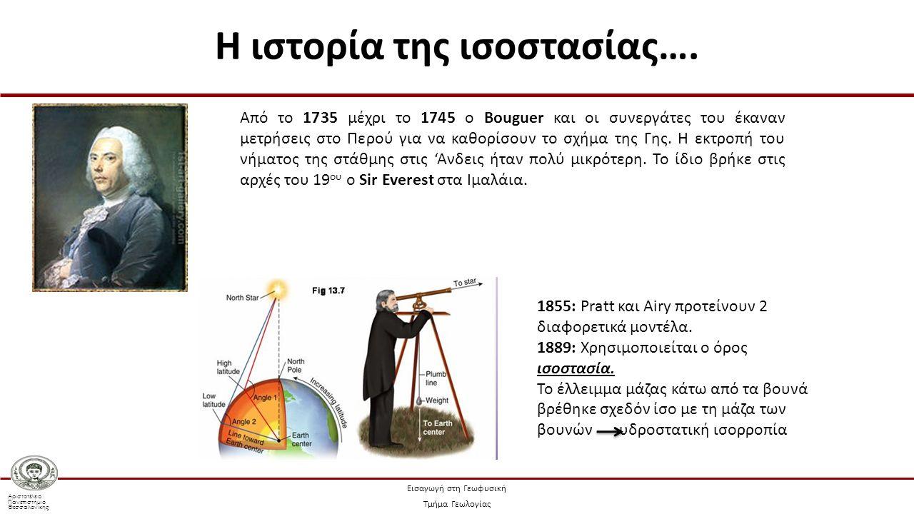 Αριστοτέλειο Πανεπιστήμιο Θεσσαλονίκης Εισαγωγή στη Γεωφυσική Τμήμα Γεωλογίας Από το 1735 μέχρι το 1745 ο Bouguer και οι συνεργάτες του έκαναν μετρήσεις στο Περού για να καθορίσουν το σχήμα της Γης.