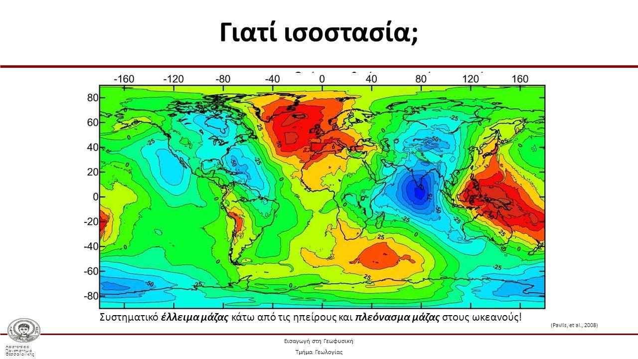 Αριστοτέλειο Πανεπιστήμιο Θεσσαλονίκης Εισαγωγή στη Γεωφυσική Τμήμα Γεωλογίας Γιατί ισοστασία; Οι ήπειροι θα έπρεπε να έχουν τεράστιο πλεόνασμα μάζας σε σχέση με τους ωκεανούς.