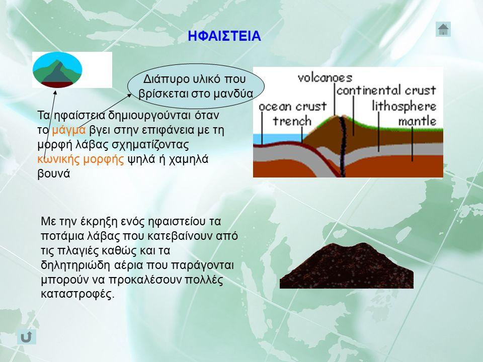 Τα ηφαίστεια δημιουργούνται όταν το μάγμα βγει στην επιφάνεια με τη μορφή λάβας σχηματίζοντας κωνικής μορφής ψηλά ή χαμηλά βουνά Διάπυρο υλικό που βρίσκεται στο μανδύα Με την έκρηξη ενός ηφαιστείου τα ποτάμια λάβας που κατεβαίνουν από τις πλαγιές καθώς και τα δηλητηριώδη αέρια που παράγονται μπορούν να προκαλέσουν πολλές καταστροφές.
