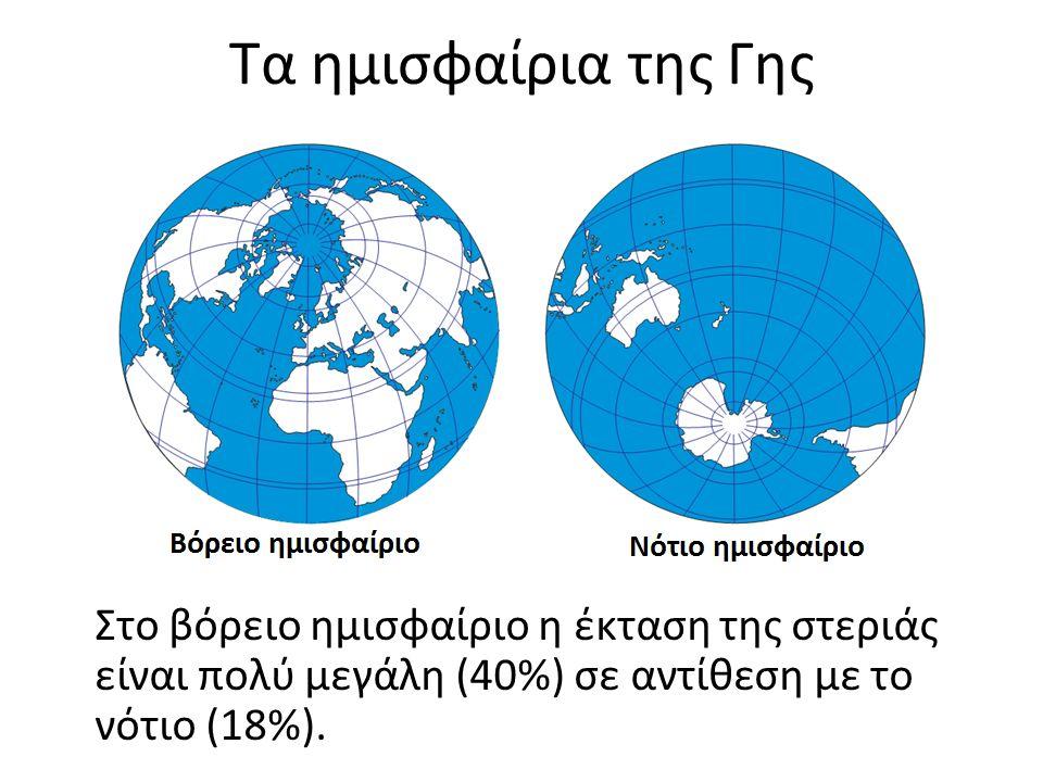 Τα ημισφαίρια της Γης Στο βόρειο ημισφαίριο η έκταση της στεριάς είναι πολύ μεγάλη (40%) σε αντίθεση με το νότιο (18%).