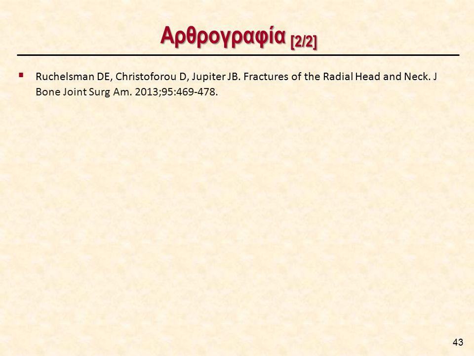 Αρθρογραφία [2/2] 43  Ruchelsman DE, Christoforou D, Jupiter JB. Fractures of the Radial Head and Neck. J Bone Joint Surg Am. 2013;95:469-478.