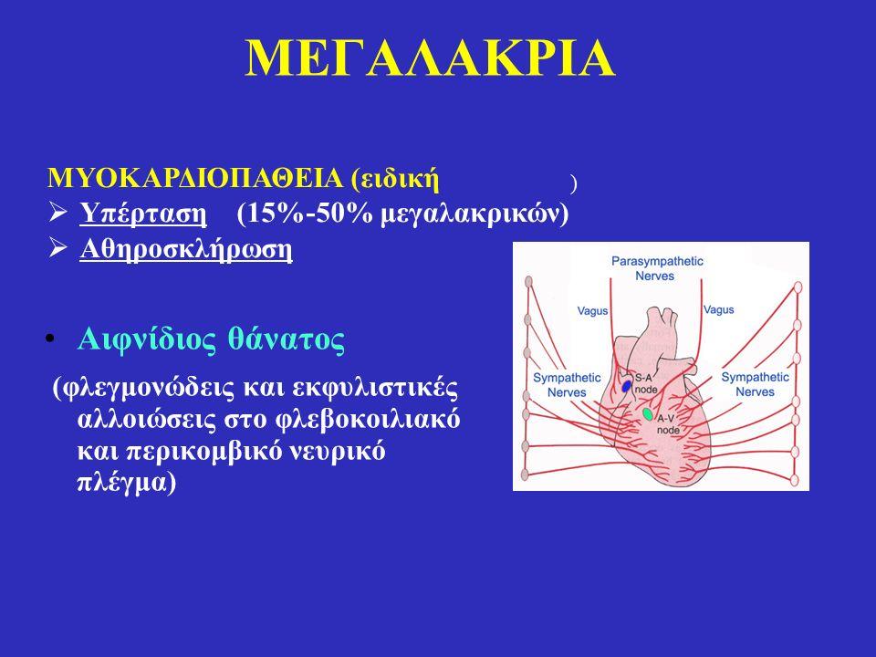 MΕΓΑΛΑΚΡΙΑ Αιφνίδιος θάνατος (φλεγμονώδεις και εκφυλιστικές αλλοιώσεις στο φλεβοκοιλιακό και περικομβικό νευρικό πλέγμα) ) ΜΥΟΚΑΡΔΙΟΠΑΘΕΙΑ (ειδική  Υπέρταση (15%-50% μεγαλακρικών)  Αθηροσκλήρωση