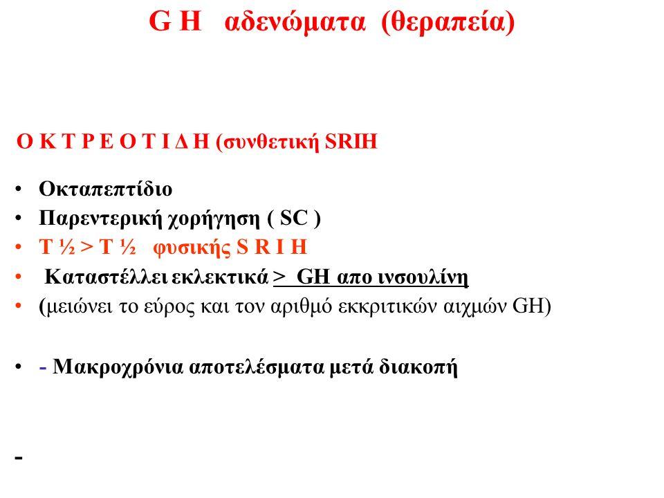G H αδενώματα (θεραπεία) Οκταπεπτίδιο Παρεντερική χορήγηση ( SC ) Τ ½ > Τ ½ φυσικής S R I H Καταστέλλει εκλεκτικά > GH απο ινσουλίνη (μειώνει το εύρος