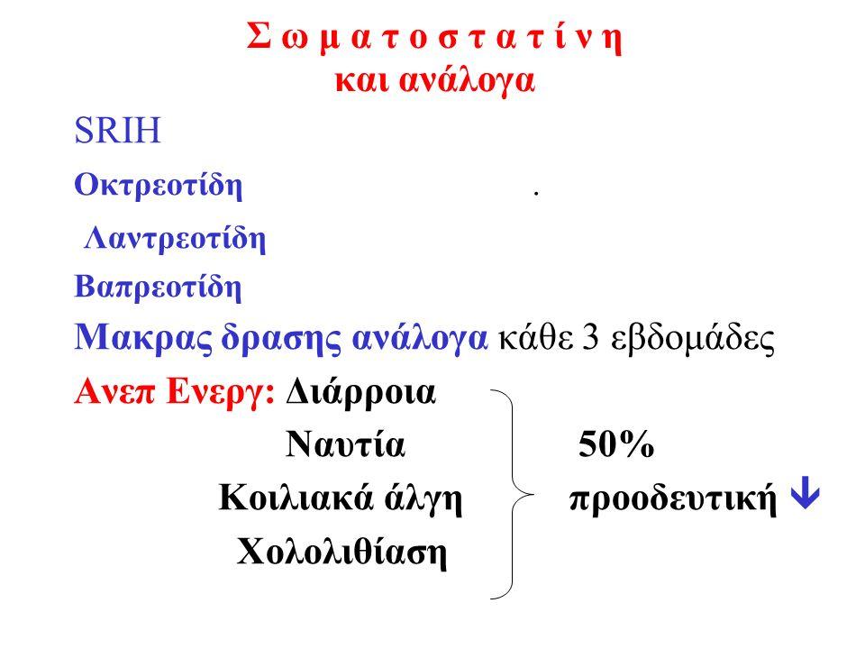 Σ ω μ α τ ο σ τ α τ ί ν η και ανάλογα SRIH Οκτρεοτίδη. Λαντρεοτίδη Βαπρεοτίδη Μακρας δρασης ανάλογα κάθε 3 εβδομάδες Ανεπ Ενεργ: Διάρροια Ναυτία 50% Κ