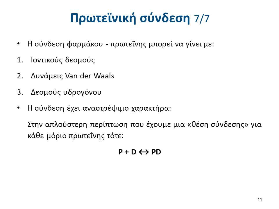 Πρωτεϊνική σύνδεση 7/7 Η σύνδεση φαρμάκου - πρωτεΐνης μπορεί να γίνει με: 1.Ιοντικούς δεσμούς 2.Δυνάμεις Van der Waals 3.Δεσμούς υδρογόνου Η σύνδεση έχει αναστρέψιμο χαρακτήρα: Στην απλούστερη περίπτωση που έχουμε μια «θέση σύνδεσης» για κάθε μόριο πρωτεΐνης τότε: Ρ + D ↔ PD 11