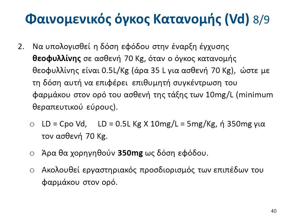 Φαινομενικός όγκος Κατανομής (Vd) 8/9 2.Να υπολογισθεί η δόση εφόδου στην έναρξη έγχυσης θεοφυλλίνης σε ασθενή 70 Kg, όταν ο όγκος κατανομής θεοφυλλίνης είναι 0.5L/Kg (άρα 35 L για ασθενή 70 Kg), ώστε με τη δόση αυτή να επιφέρει επιθυμητή συγκέντρωση του φαρμάκου στον ορό του ασθενή της τάξης των 10mg/L (minimum θεραπευτικού εύρους).