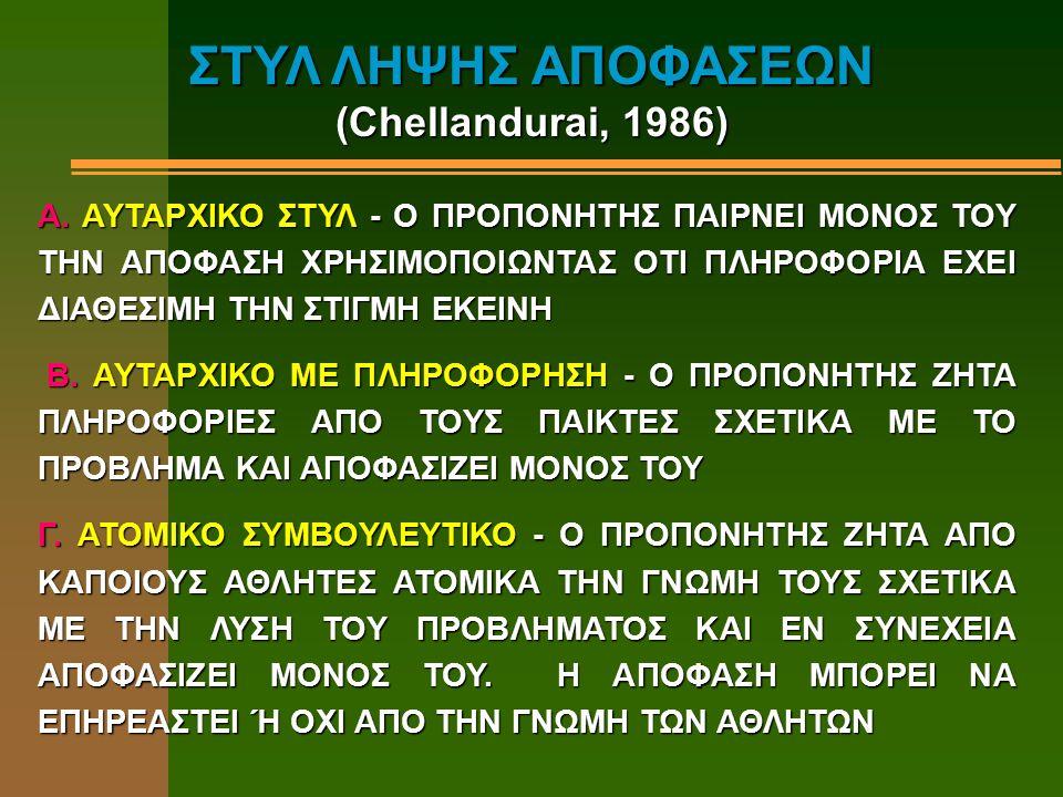 ΣΤΥΛ ΛΗΨΗΣ ΑΠΟΦΑΣΕΩΝ (Chellandurai, 1986) A. AYΤΑΡΧΙΚΟ ΣΤΥΛ - Ο ΠΡΟΠΟΝΗΤΗΣ ΠΑΙΡΝΕΙ ΜΟΝΟΣ ΤΟΥ ΤΗΝ ΑΠΟΦΑΣΗ ΧΡΗΣΙΜΟΠΟΙΩΝΤΑΣ ΟΤΙ ΠΛΗΡΟΦΟΡΙΑ ΕΧΕΙ ΔΙΑΘΕΣΙΜΗ