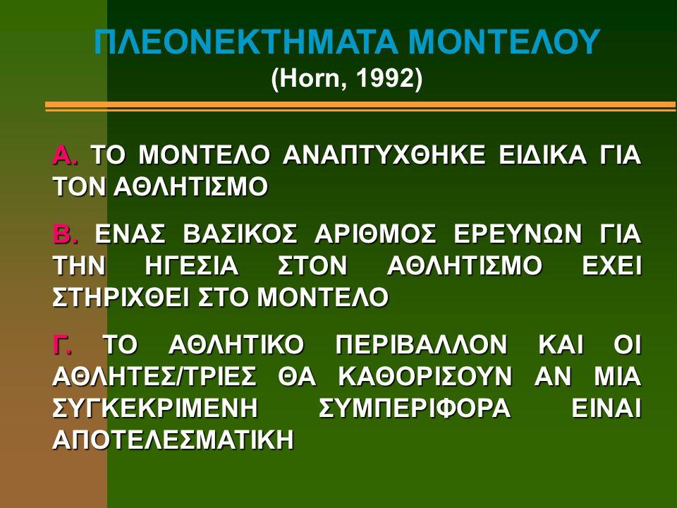 ΠΛΕΟΝΕΚΤΗΜΑΤΑ ΜΟΝΤΕΛΟΥ (Horn, 1992) A. TO MΟΝΤΕΛΟ ΑΝΑΠΤΥΧΘΗΚΕ ΕΙΔΙΚΑ ΓΙΑ ΤΟΝ ΑΘΛΗΤΙΣΜΟ Β. ΕΝΑΣ ΒΑΣΙΚΟΣ ΑΡΙΘΜΟΣ ΕΡΕΥΝΩΝ ΓΙΑ ΤΗΝ ΗΓΕΣΙΑ ΣΤΟΝ ΑΘΛΗΤΙΣΜΟ Ε