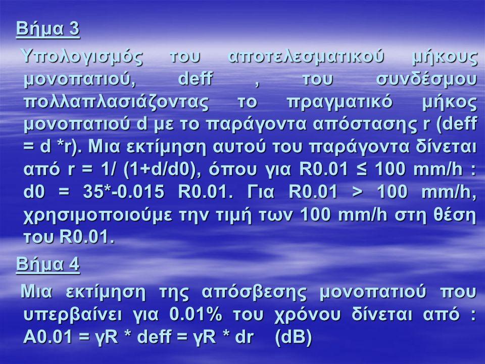 Βήμα 3 Βήμα 3 Υπολογισμός του αποτελεσματικού μήκους μονοπατιού, deff, του συνδέσμου πολλαπλασιάζοντας το πραγματικό μήκος μονοπατιού d με το παράγοντα απόστασης r (deff = d *r).