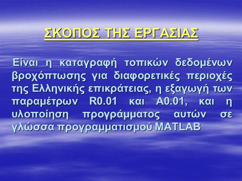 ΣΚΟΠΟΣ ΤΗΣ ΕΡΓΑΣΙΑΣ Είναι η καταγραφή τοπικών δεδομένων βροχόπτωσης για διαφορετικές περιοχές της Ελληνικής επικράτειας, η εξαγωγή των παραμέτρων R0.01 και A0.01, και η υλοποίηση προγράμματος αυτών σε γλώσσα προγραμματισμού MATLAB Είναι η καταγραφή τοπικών δεδομένων βροχόπτωσης για διαφορετικές περιοχές της Ελληνικής επικράτειας, η εξαγωγή των παραμέτρων R0.01 και A0.01, και η υλοποίηση προγράμματος αυτών σε γλώσσα προγραμματισμού MATLAB