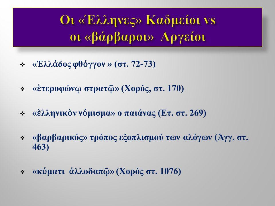  Η απάλειψη των λέξεων « Θήβαι », « Θηβαίοι » από το κείμενο των Επτά επί Θήβας :  Αναγωγή στο μυθικό παρελθόν και απομάκρυνση από το ιστορικό παρόν ;  Έμφαση στο ιδεώδες της αυτοχθονίας των Θηβαίων μέσω της χρήσης του όρου Καδμείοι (= Σπαρτοί );