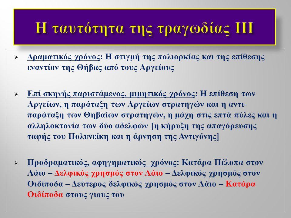  Η Θήβα ως ιδιαίτερη εννοιολογική κατηγορία (« κοινός τόπος » κυριολεκτικά και μεταφορικά ) στο τραγικό θέατρο : τόπος εγκλεισμού και φυλάκισης, αυτοχθονίας και υπερ - ανδρισμού, κλειστής και αδιέξοδης αυτοαναφορικότητας ( αιμομιξία, πατροκτονία, αδελφοκτονία )  Η Θήβα ως αρνητικό, αντεστραμμένο πρότυπο ή ως σκοτεινή, « άλλη » πλευρά της Αθήνας ;  Το Άργος ως το θεατρικό « ανάλογο », alter ego της Αθήνας ;