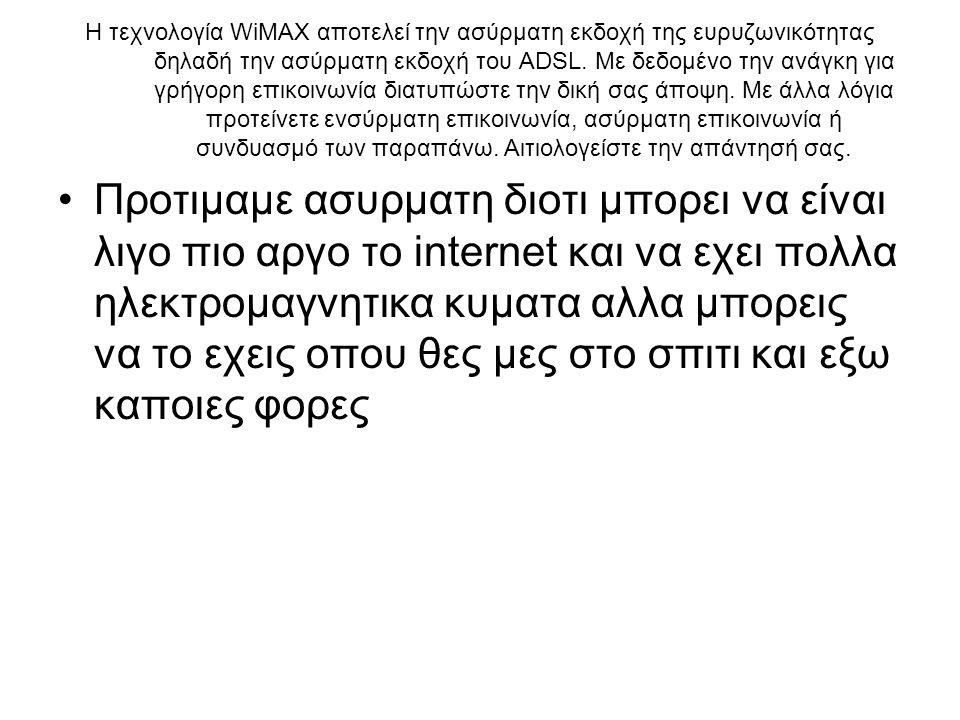 H τεχνολογία WiMAX αποτελεί την ασύρματη εκδοχή της ευρυζωνικότητας δηλαδή την ασύρματη εκδοχή του ADSL.