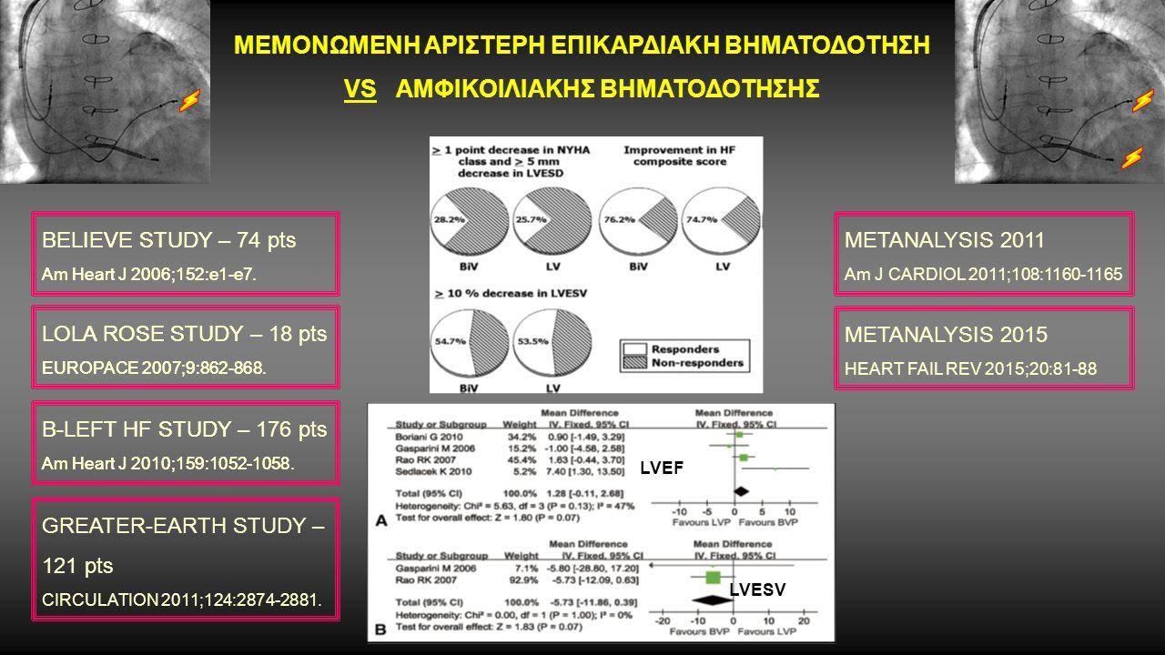 ΜΕΜΟΝΩΜΕΝΗ ΑΡΙΣΤΕΡΗ ΕΠΙΚΑΡΔΙΑΚΗ ΒΗΜΑΤΟΔΟΤΗΣΗ VS ΑΜΦΙΚΟΙΛΙΑΚΗΣ ΒΗΜΑΤΟΔΟΤΗΣΗΣ LOLA ROSE STUDY EUROPACE 2007;9:862-868.