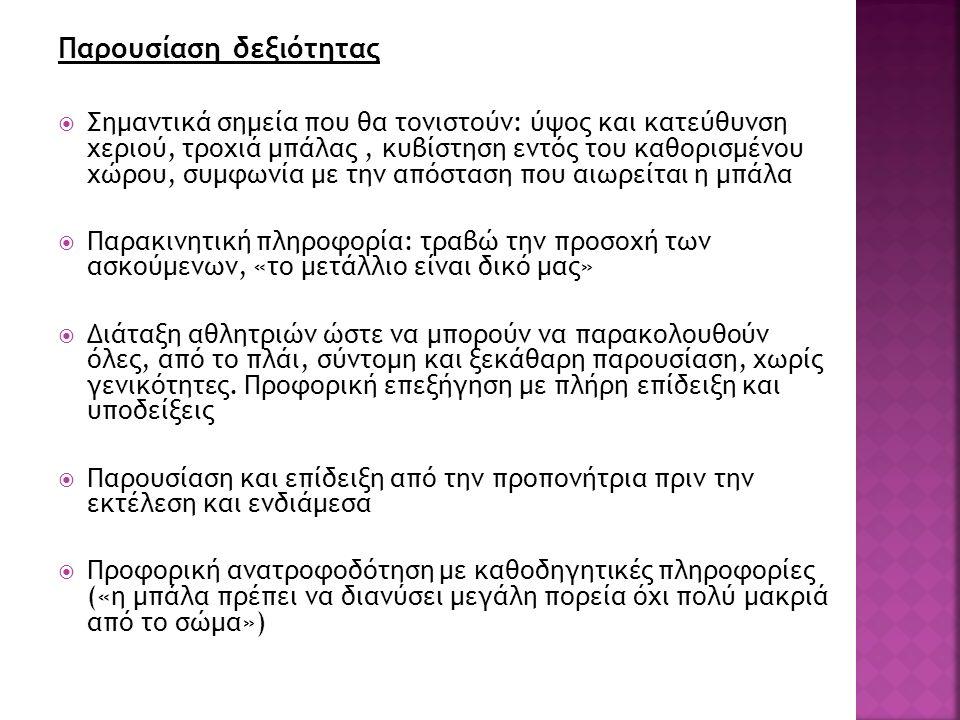 Δομή εξάσκησης  Ανάπτυξη σχήματος: σταθερή εξάσκηση  Διευκόλυνση μεταφοράς: ομαδοποιημένη εξάσκηση  Κατανομή εξάσκησης: κατανεμημένη εξάσκηση με διαλείμματα ώστε να υπάρξει χρόνος για αφομοίωση από την ανατροφοδότηση, τέτοια η φύση των ασκήσεων  Ασκήσεις: 1) Σημεία-στόχοι στο έδαφος, πέταγμα μπάλας 2) Κυβίστηση με τελείωμα της κίνησης στο σημείο-στόχο 3) Ολόκληρη η άσκηση με χρήση των σημείων-στόχων 4) Ολόκληρη η άσκηση χωρίς τη χρήση των σημείων-στόχων
