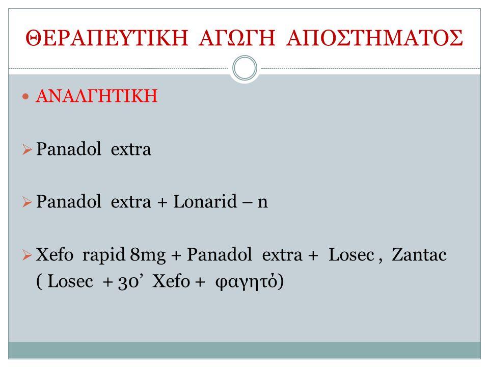 ΘΕΡΑΠΕΥΤΙΚΗ ΑΓΩΓΗ ΑΠΟΣΤΗΜΑΤΟΣ ΑΝΑΛΓΗΤΙΚΗ  Panadol extra  Panadol extra + Lonarid – n  Xefo rapid 8mg + Panadol extra + Losec, Zantac ( Losec + 30' Xefo + φαγητό)