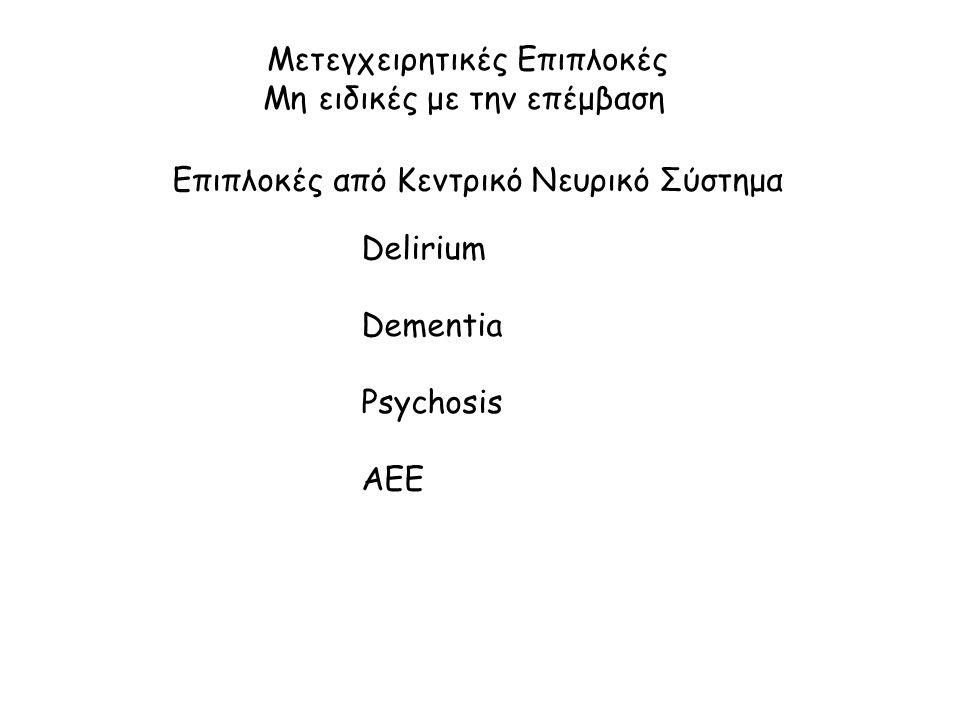 Μετεγχειρητικές Επιπλοκές Μη ειδικές με την επέμβαση Επιπλοκές από Κεντρικό Νευρικό Σύστημα Delirium Dementia Psychosis AEE