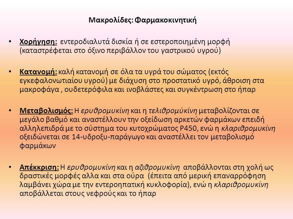 Μακρολίδες: Φαρμακοκινητική Χορήγηση: εντεροδιαλυτά δισκία ή σε εστεροποιημένη μορφή (καταστρέφεται στο όξινο περιβάλλον του γαστρικού υγρού) Κατανομή