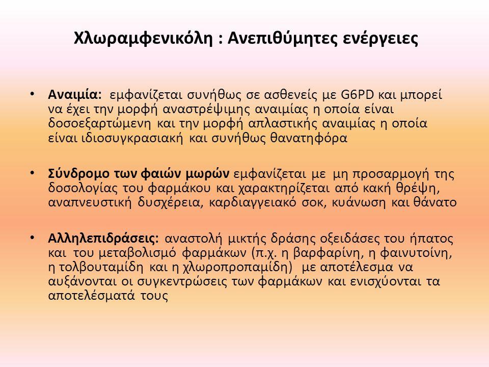 Χλωραμφενικόλη : Ανεπιθύμητες ενέργειες Αναιμία: εμφανίζεται συνήθως σε ασθενείς με G6PD και μπορεί να έχει την μορφή αναστρέψιμης αναιμίας η οποία εί