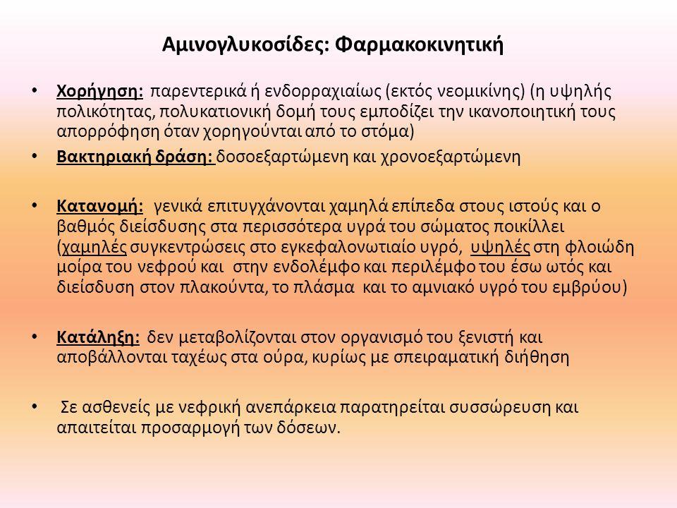 Αμινογλυκoσίδες: Φαρμακοκινητική Χορήγηση: παρεντερικά ή ενδορραχιαίως (εκτός νεομικίνης) (η υψηλής πολικότητας, πολυκατιονική δομή τους εμποδίζει την