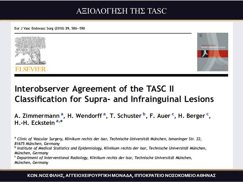Συμφωνία /consensus/ 14επιστημονικών εταιρειών- TASC I (2000) Συμφωνία/consensus/ 16επιστημονικών εταιρειών- TASC II (2007) περιλαμβάνει :  Μία σύνοψη όλων των δεδομένων στην ΠΑΝ  Μία ανατομική κατηγοριοποίηση των αθηρωματικών βλαβών ΚΩΝ.ΝΟΣ ΦΙΛΗΣ, ΑΓΓΕΙΟΧΕΙΡΟΥΡΓΙΚΗ ΜΟΝΑΔΑ, ΙΠΠΟΚΡΑΤΕΙΟ ΝΟΣΟΚΟΜΕΙΟ ΑΘΗΝΑΣ ΑΞΙΟΛΟΓΗΣΗ ΤΗΣ TASC