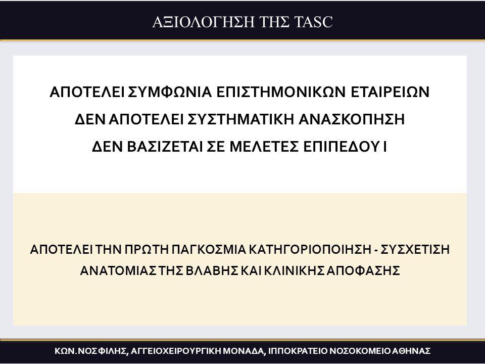 Comparison of different strategies Claudication 2% amp/10years Critical ischemia > 30% amp/year ΑΞΙΟΛΟΓΗΣΗ ΤΗΣ TASC