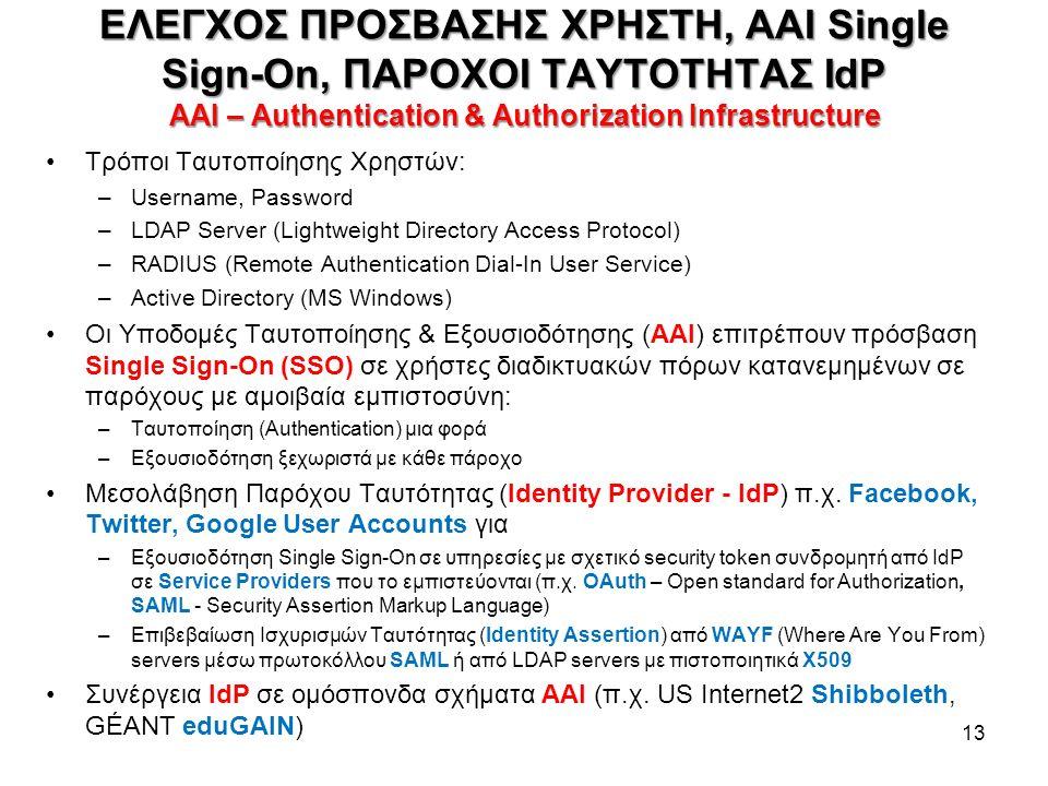 Τρόποι Ταυτοποίησης Χρηστών: –Username, Password –LDAP Server (Lightweight Directory Access Protocol) –RADIUS (Remote Authentication Dial-In User Service) –Active Directory (MS Windows) Οι Υποδομές Ταυτοποίησης & Εξουσιοδότησης (ΑΑΙ) επιτρέπουν πρόσβαση Single Sign-On (SSO) σε χρήστες διαδικτυακών πόρων κατανεμημένων σε παρόχους με αμοιβαία εμπιστοσύνη: –Ταυτοποίηση (Authentication) μια φορά –Εξουσιοδότηση ξεχωριστά με κάθε πάροχο Μεσολάβηση Παρόχου Tαυτότητας (Identity Provider - IdP) π.χ.