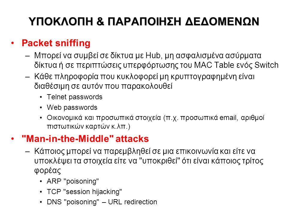ΥΠΟΚΛΟΠΗ & ΠΑΡΑΠΟΙΗΣΗ ΔΕΔΟΜΕΝΩΝ ΥΠΟΚΛΟΠΗ & ΠΑΡΑΠΟΙΗΣΗ ΔΕΔΟΜΕΝΩΝ Packet sniffing –Μπορεί να συμβεί σε δίκτυα με Hub, μη ασφαλισμένα ασύρματα δίκτυα ή σε περιπτώσεις υπερφόρτωσης του MAC Table ενός Switch –Κάθε πληροφορία που κυκλοφορεί μη κρυπτογραφημένη είναι διαθέσιμη σε αυτόν που παρακολουθεί Telnet passwords Web passwords Οικονομικά και προσωπικά στοιχεία (π.χ.