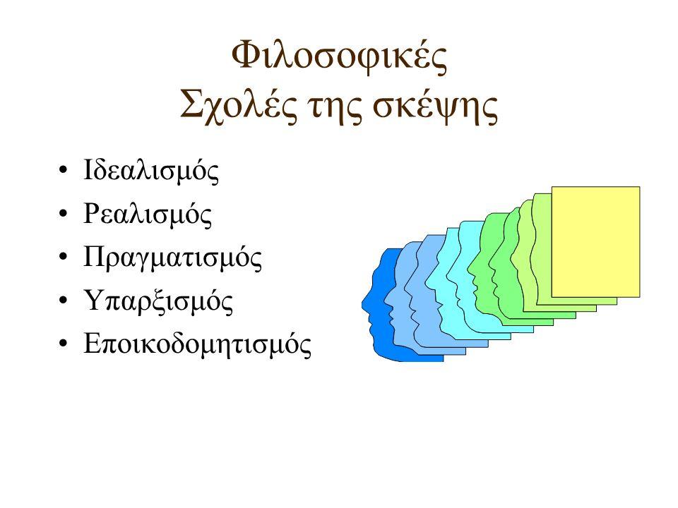 Φιλοσοφικές Σχολές της σκέψης Ιδεαλισμός Ρεαλισμός Πραγματισμός Υπαρξισμός Εποικοδομητισμός