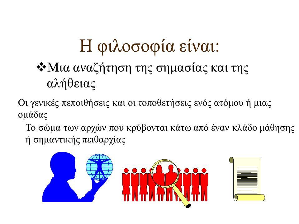 Η φιλοσοφία είναι:  Μια αναζήτηση της σημασίας και της αλήθειας Οι γενικές πεποιθήσεις και οι τοποθετήσεις ενός ατόμου ή μιας ομάδας Το σώμα των αρχώ