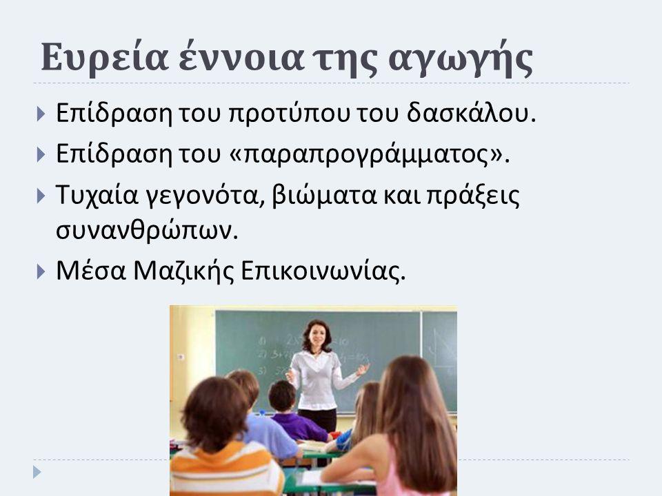 Ευρεία έννοια της αγωγής  Επίδραση του προτύπου του δασκάλου.