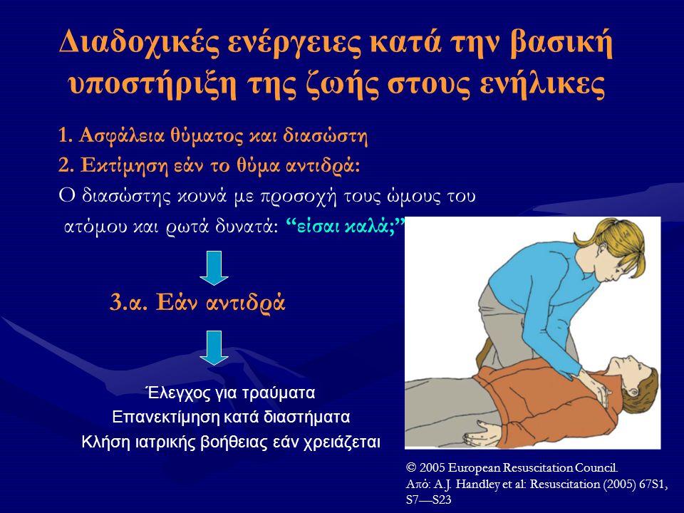 Διαδοχικές ενέργειες κατά την βασική υποστήριξη της ζωής στους ενήλικες 1. Ασφάλεια θύματος και διασώστη 2. Εκτίμηση εάν το θύμα αντιδρά: Ο διασώστης