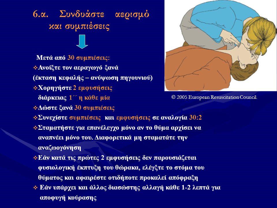 6.α. Συνδυάστε αερισμό και συμπιέσεις Μετά από 30 συμπιέσεις:  Ανοίξτε τον αεραγωγό ξανά (έκταση κεφαλής – ανύψωση πηγουνιού)  Χορηγήστε 2 εμφυσήσει