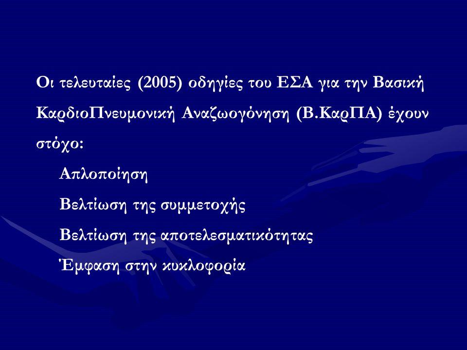 Οι τελευταίες (2005) οδηγίες του ΕΣΑ για την Βασική ΚαρδιοΠνευμονική Αναζωογόνηση (Β.ΚαρΠΑ) έχουν στόχο: Απλοποίηση Βελτίωση της συμμετοχής Βελτίωση της αποτελεσματικότητας Έμφαση στην κυκλοφορία