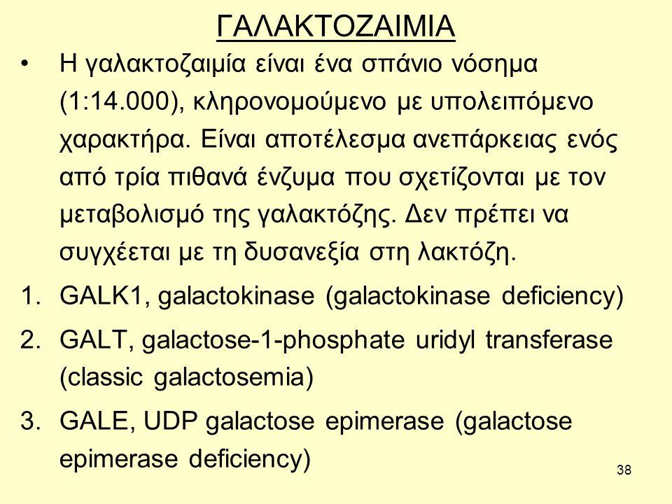 38 ΓΑΛΑΚΤΟΖΑΙΜΙΑ Η γαλακτοζαιμία είναι ένα σπάνιο νόσημα (1:14.000), κληρονομούμενο με υπολειπόμενο χαρακτήρα.